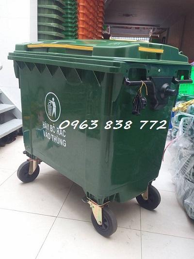 Thùng rác 660L nhựa hdpe - Thùng rác môi trường - Xe đẩy rác