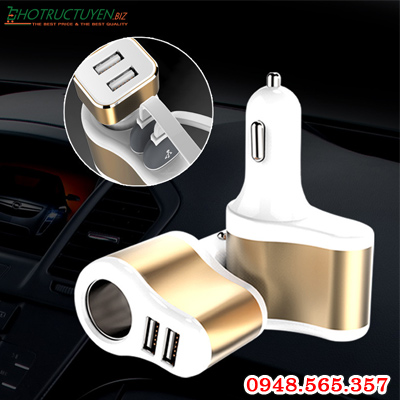 Bộ chia tẩu sạc ô tô ra 1 cổng tẩu + 2 cổng sạc USB