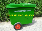 mua xe đẩy rác 660 lít ở đâu bền rẻ, bán thùng rác con thú, thùng rác 240l
