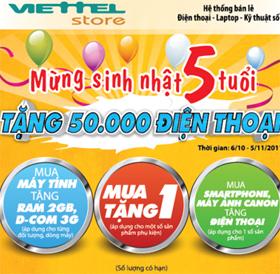 Viettel tặng 50.000 điện thoại mừng sinh nhật lần thứ 5