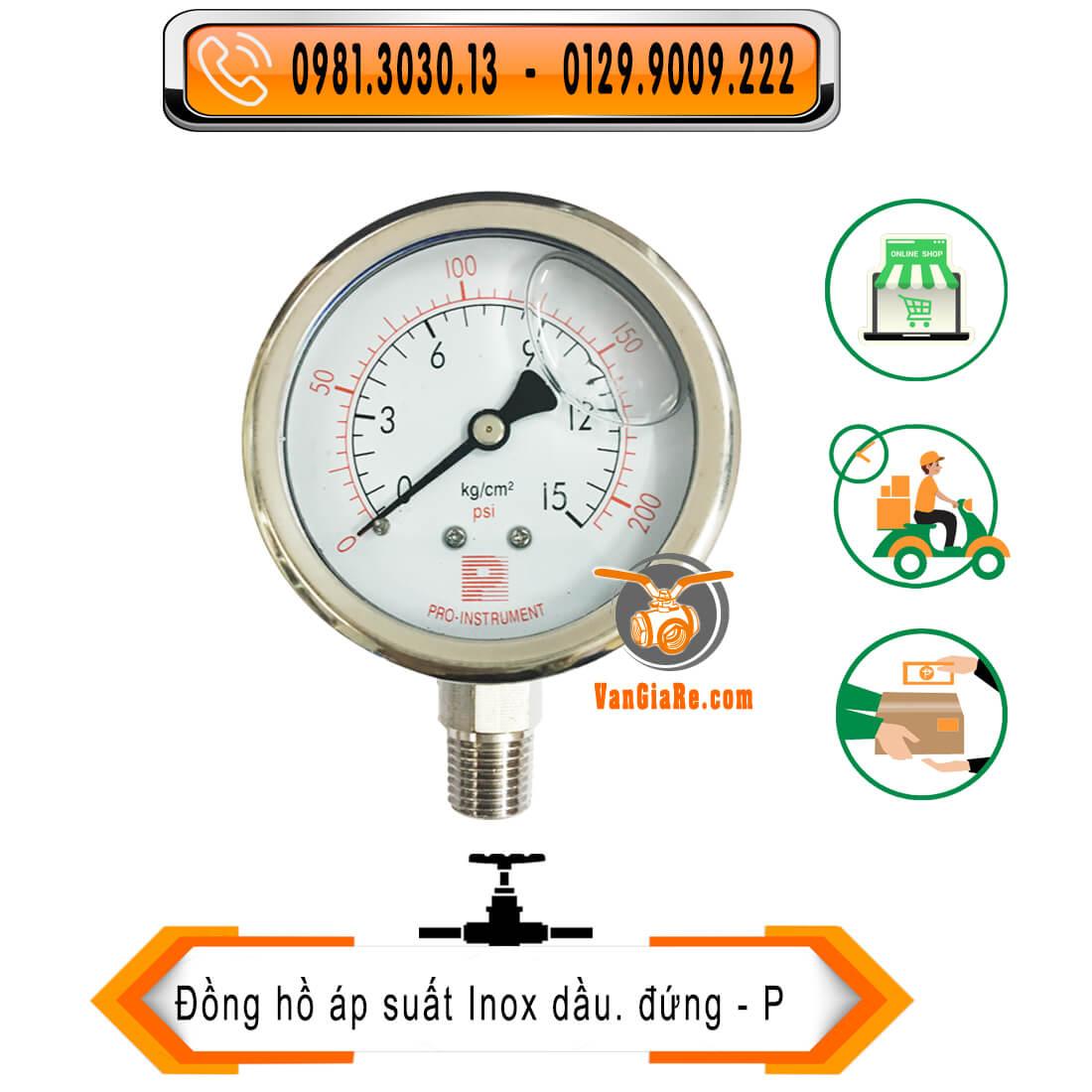 Đồng hồ áp suất inox 304 có dầu, hiệu Pro Instrument