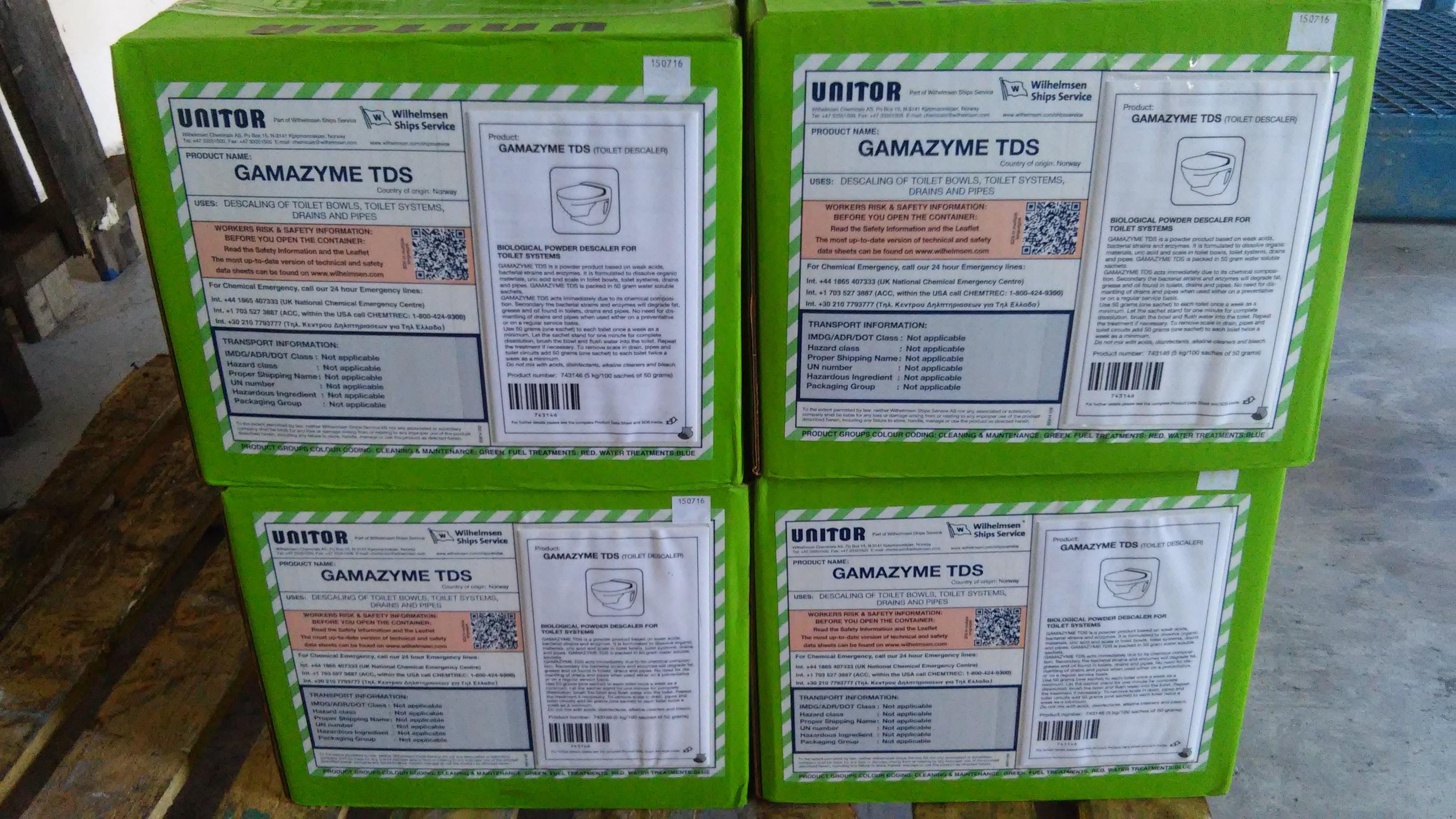 GAMAZYME TOILET DESCALER, 5 KGS/CARTON. P/N: 653 743146. MAKER: UNITOR