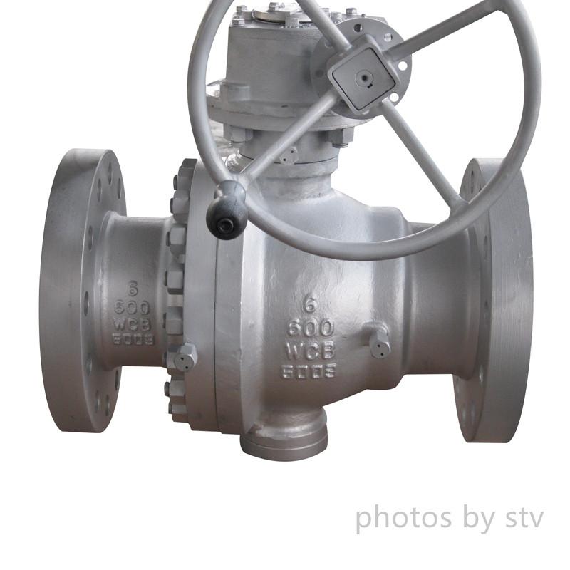 API 6D 2-PC Trunnion Ball Valves, ASTM A216 WCB, Flanged RF, Gear Operator, Class 600, 6 Inch