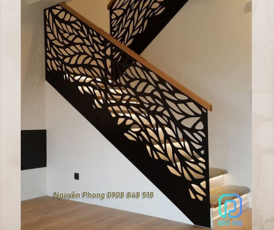 Cầu thang cắt CNC, cầu thang uốn hiện đại, hoạ tiết CNC độc đáo, thiết kế tinh tế