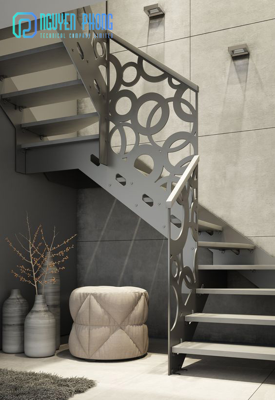 Cầu thang sắt cắt CNC sang trọng, độc đáo cho biệt thự, nhà phố đẹp sang trọng