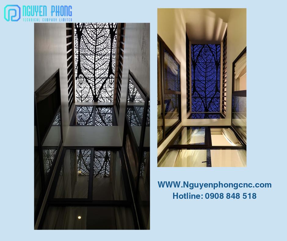 Panel, mặt dựng sắt CNC trang trí giếng trời hiện đại tạo hoa văn tuyệt đẹp