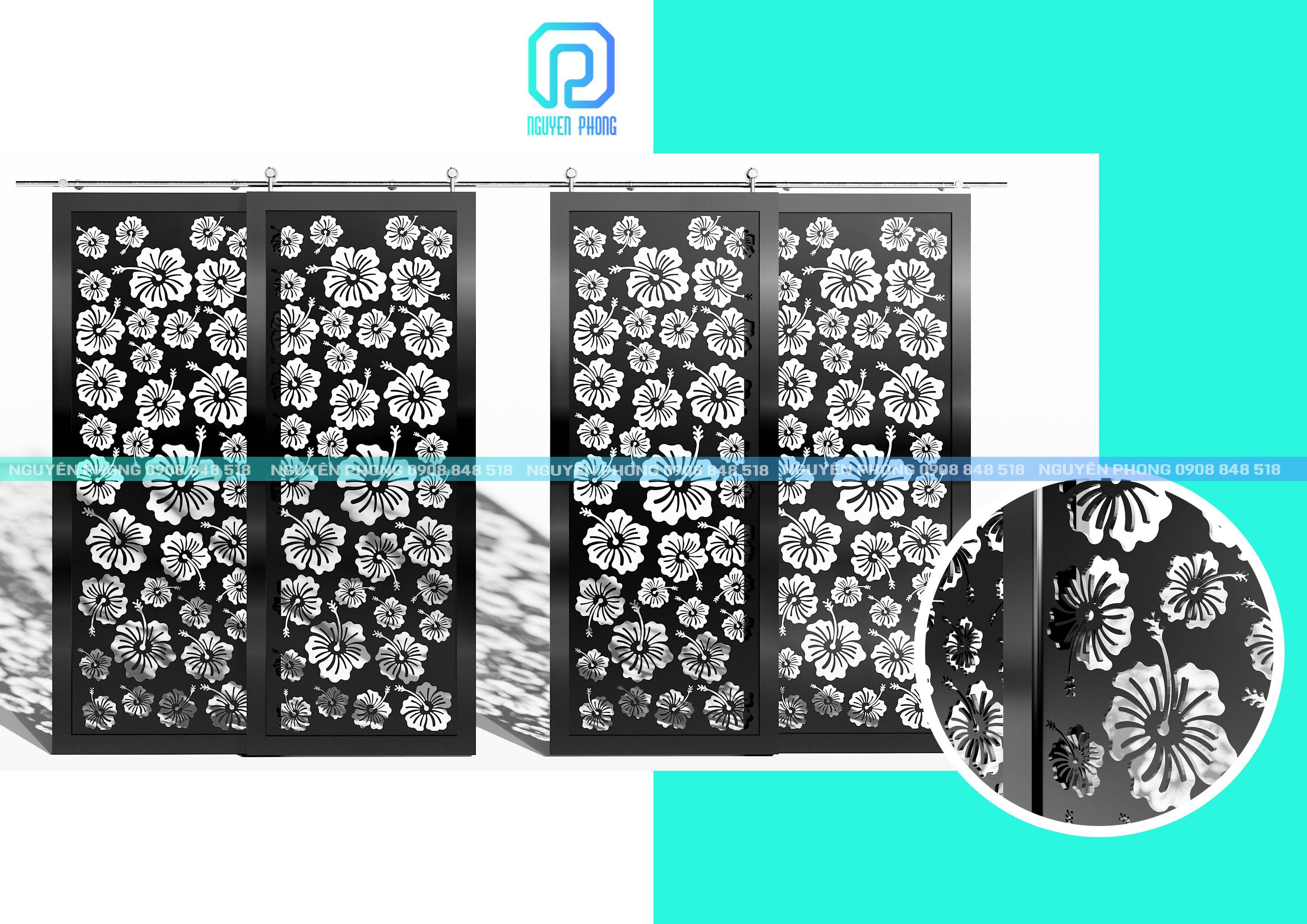 Thiết kế, gia công, thi công trọn gói bộ cửa 2 cánh, 4 cánh ốp tấm hoa văn CNC đẹp nhất