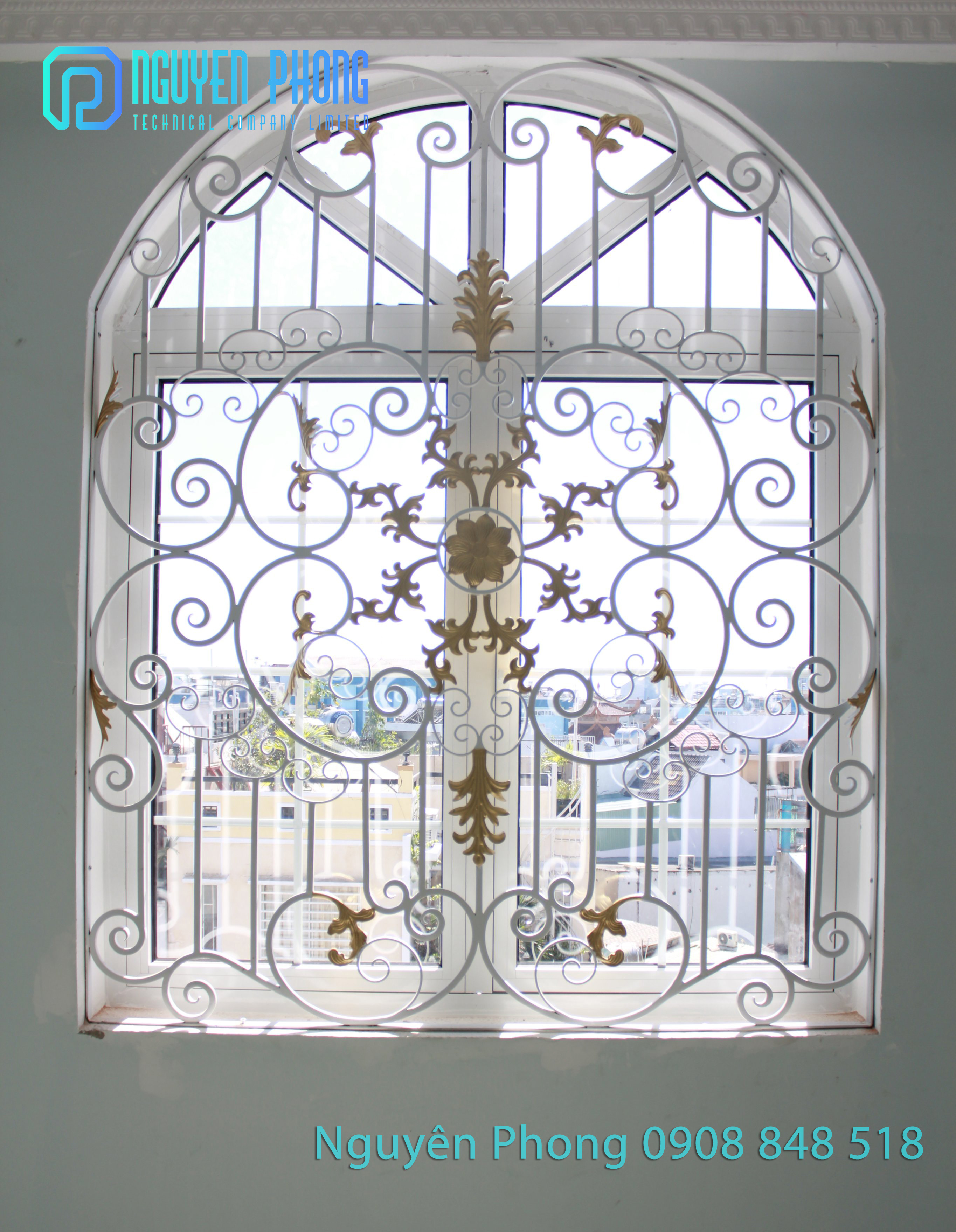 Thiết kế, gia công, thi công trọn gói khung bảo vệ cửa sổ sắt uốn nghệ thuật đẹp cho biệt thự, nhà phố