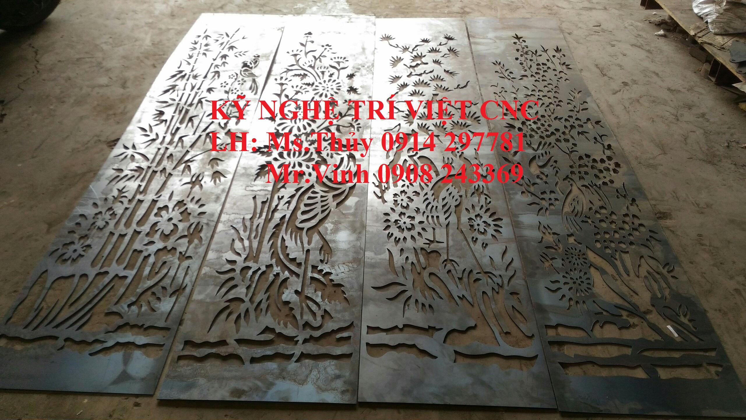 Cửa cổng tứ quý cắt cnc, mai lan cúc trúc cắt cnc trên sắt tấm
