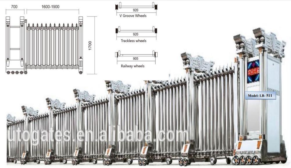 Cổng xếp inox, cửa cổng xếp tự động nhập khẩu nguyên đai nguyên kiện