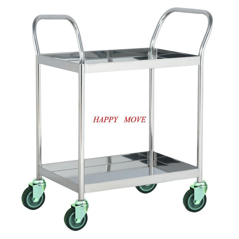 Xe đẩy hàng 2 tầng INOX 304 chống gỉ 100% Happy Move - Tải trọng 100kg