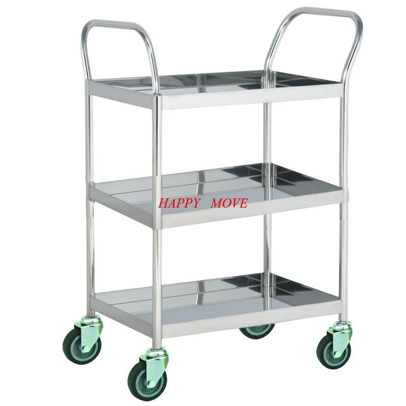 Xe đẩy hàng 3 tầng Inox 304 chống gỉ 100% Happy Move - Tải trọng 100kg