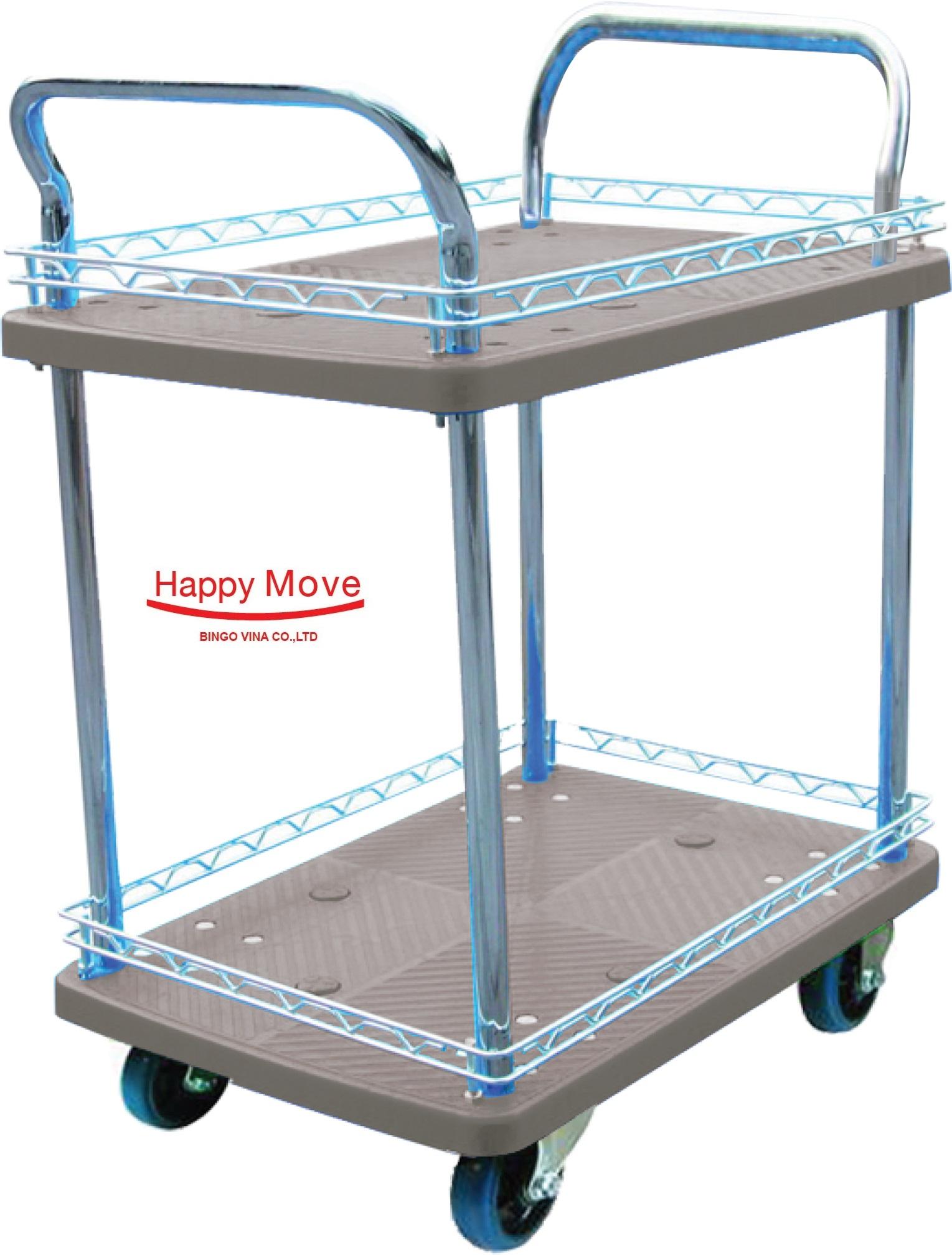 Xe đẩy hàng Fiber-Tech 2 tầng chống ồn Happy Move 150kg/300kg
