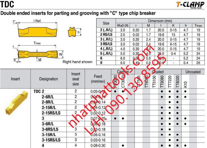 Chip cắt đứt Taegutec, TDC 2 TT7220, chích rảnh Tegutec Korea, chip tiện Rhino taegutec, parting tegutec,...L/H:0901308595