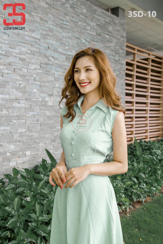 Đầm Công Sở Phối Sơ Mi Xanh Ngọc - Hàng Thiết Kế 3SD-10 giá sỉ, giá bán buôn