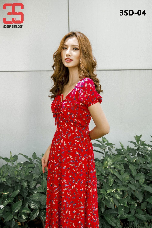 Đầm Maxi Hoa 2 Lớp Đỏ - Hàng Thiết Kế 3SD-04 giá sỉ, giá bán buôn