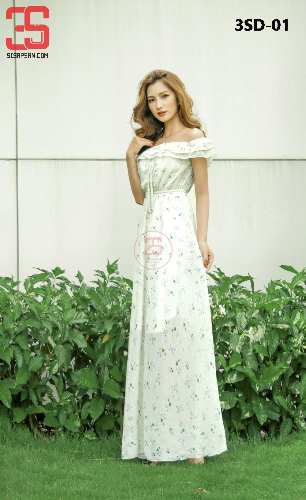 Đầm Maxi Trễ Vai Hoa - Hàng Thiết Kế 3SD-01 giá sỉ, giá bán buôn