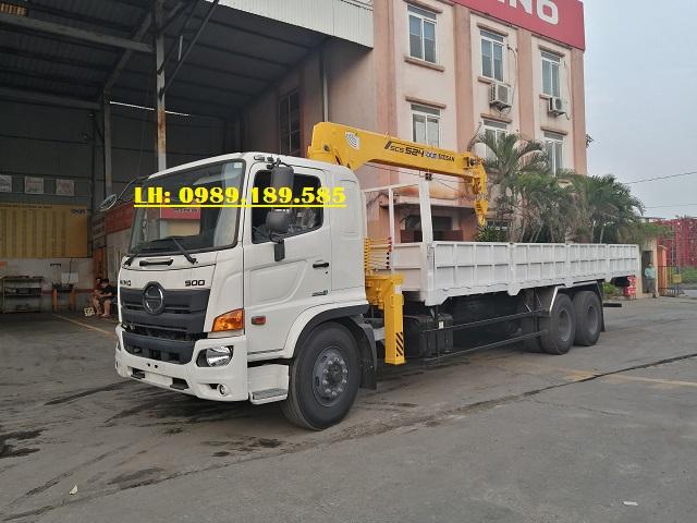 Xe cẩu thùng hino 15 tấn lắp cẩu 5 tấn 4 đốt SCS524