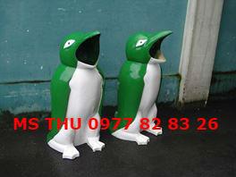 thùng rác hinh thú, thùng rác chim cánh cụt, thùng rác công cộng