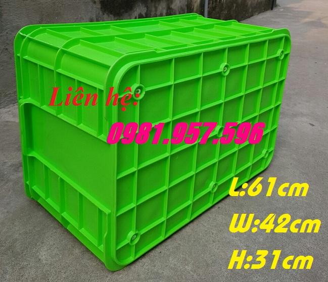 Thùng nhựa đặc, sóng nhựa bít HS019, thùng cao 31cm