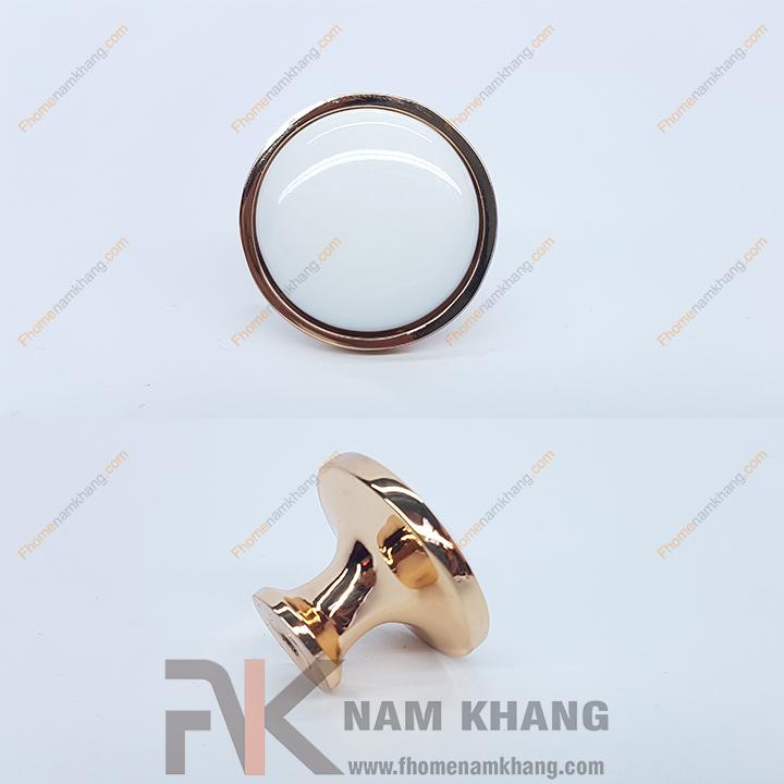 Núm cửa tủ tròn bằng sứ trắng viền vàng NK020 (Màu vàng)