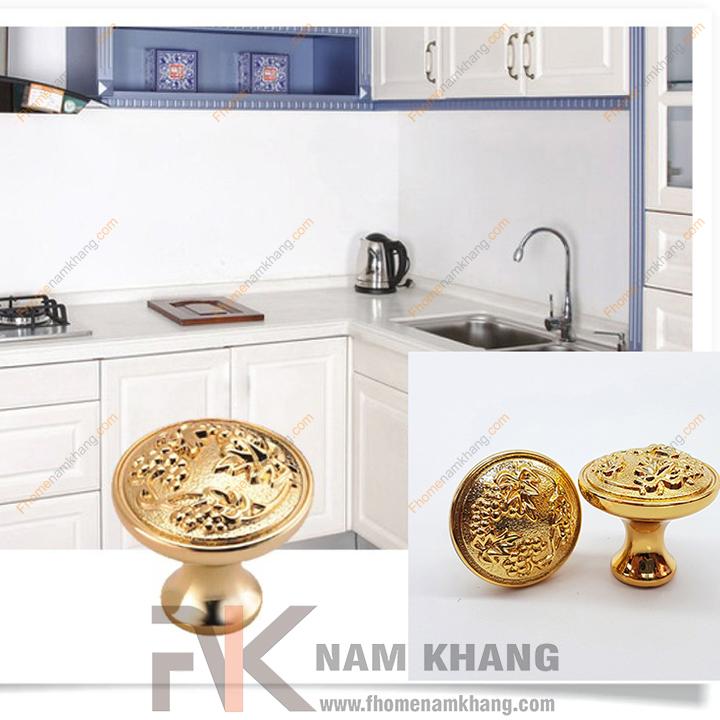 Núm nắm tủ lá nho mạ vàng NK070 (Màu vàng)