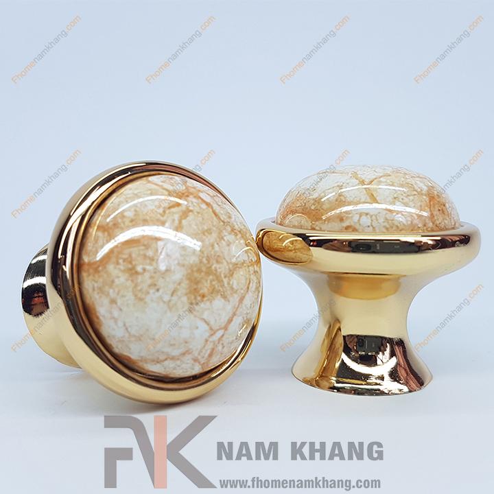 Tay nắm tủ tròn bằng sứ vân viền mạ vàng NK021 (Màu vàng)