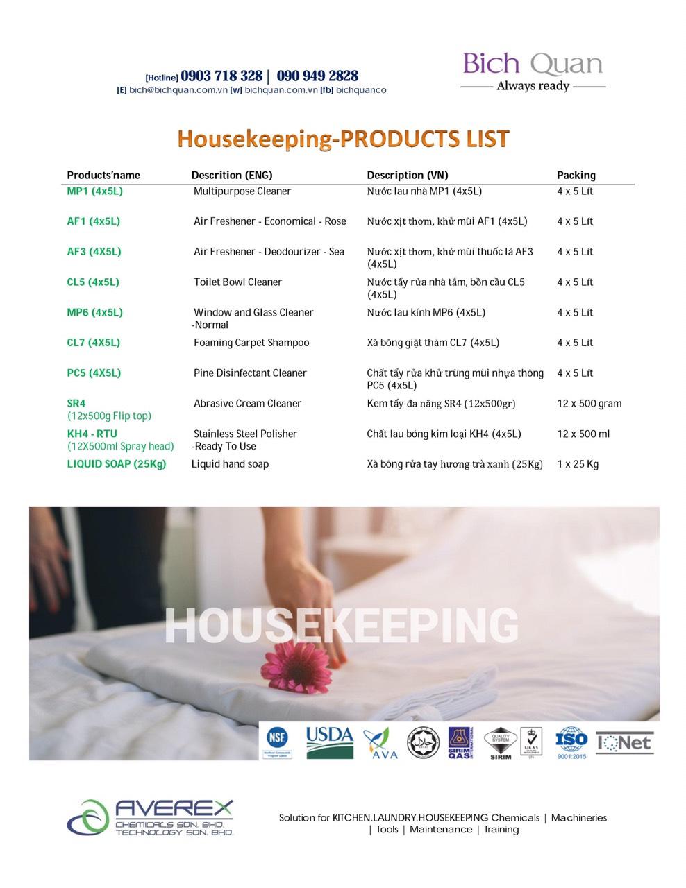 HOUSEKEEPING Chemicals-Hóa chất vệ sinh tẩy rửa công nghiệp cho nhà hàng, khách sạn, công ty, bệnh viện, trường học....