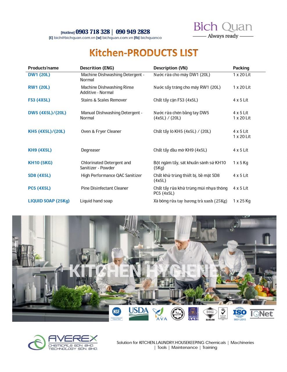 KITCHEN Chemicals-Hóa chất cho máy rửa chén bát & tẩy rửa dụng cụ bếp, vệ sinh khu vực nhà bếp
