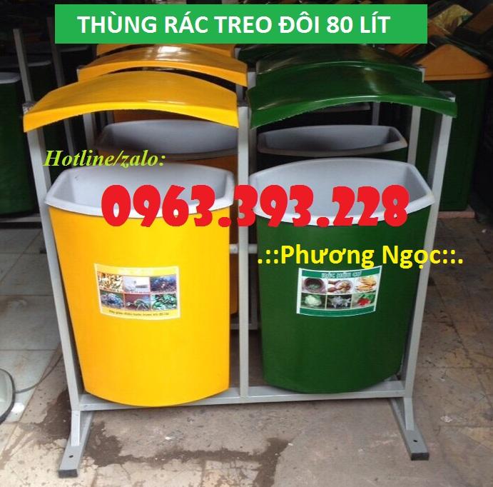 Thùng rác nhựa composite treo đôi 80 Lít