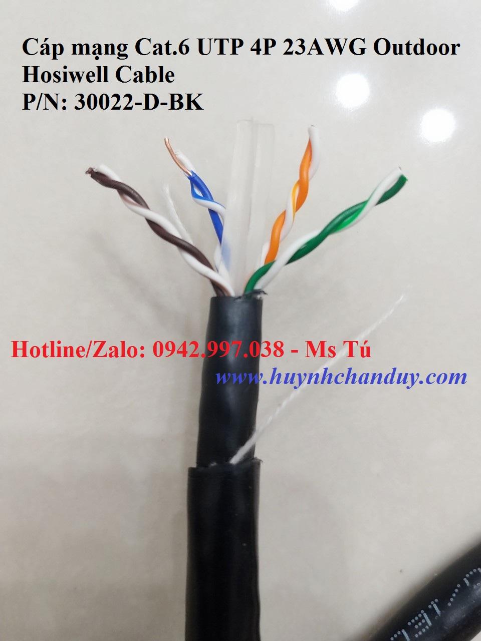 Cáp mạng LAN Cat.6 UTP Outdoor dùng ngoài trời, 305m/cuộn - P/N: 30022-D-BK