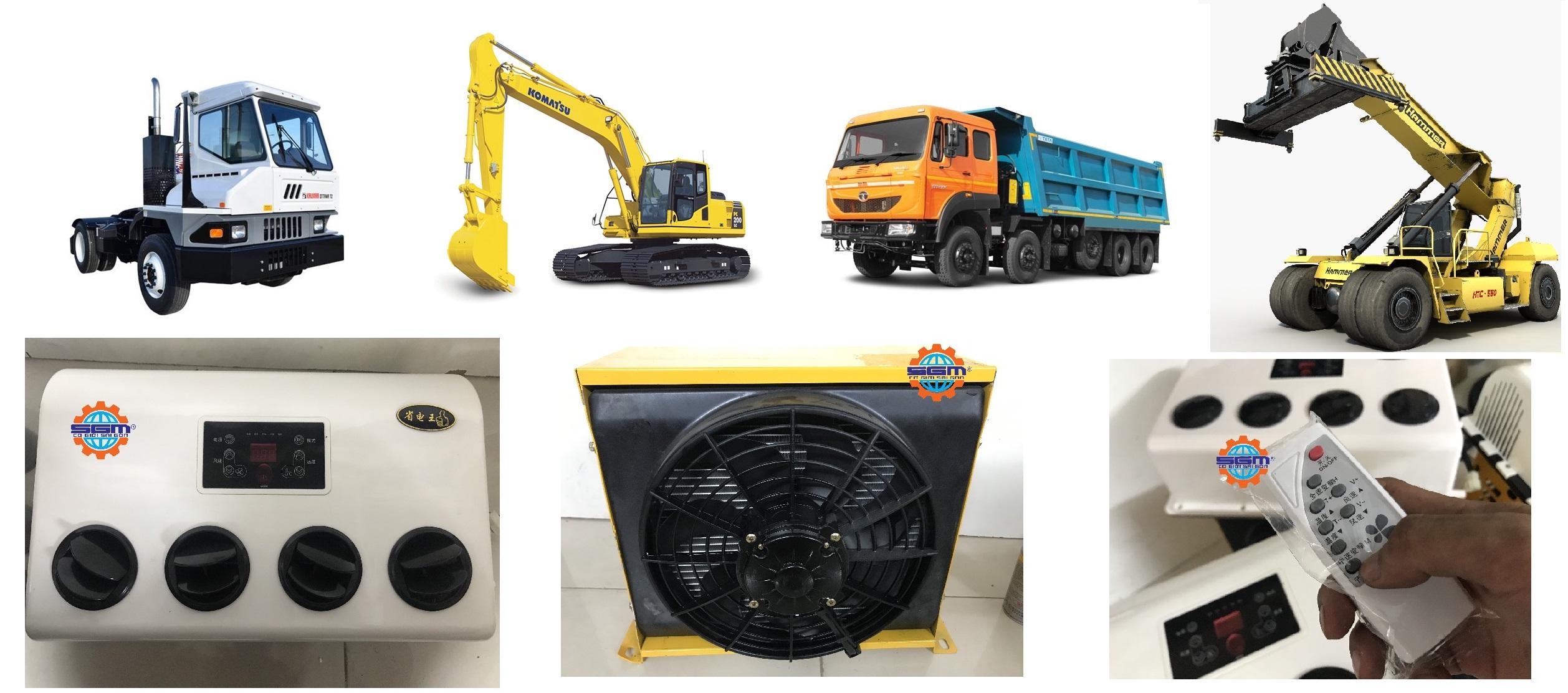 Điều hòa điện 24V/12V máy công trình, đầu kéo, xe tải
