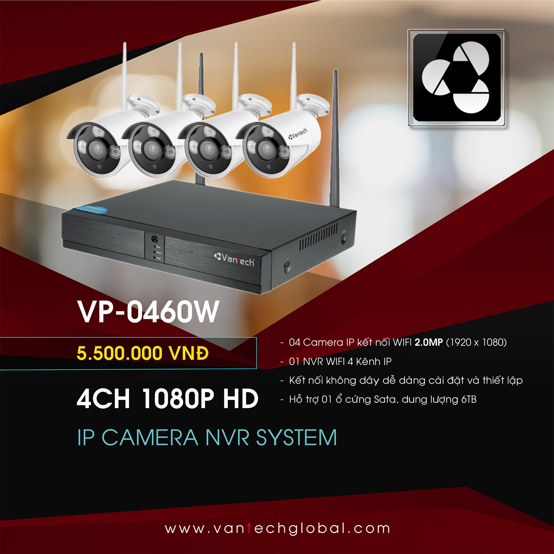 Vantech Camera KIT Wifi NVR 4CH 1080P VP-0460W
