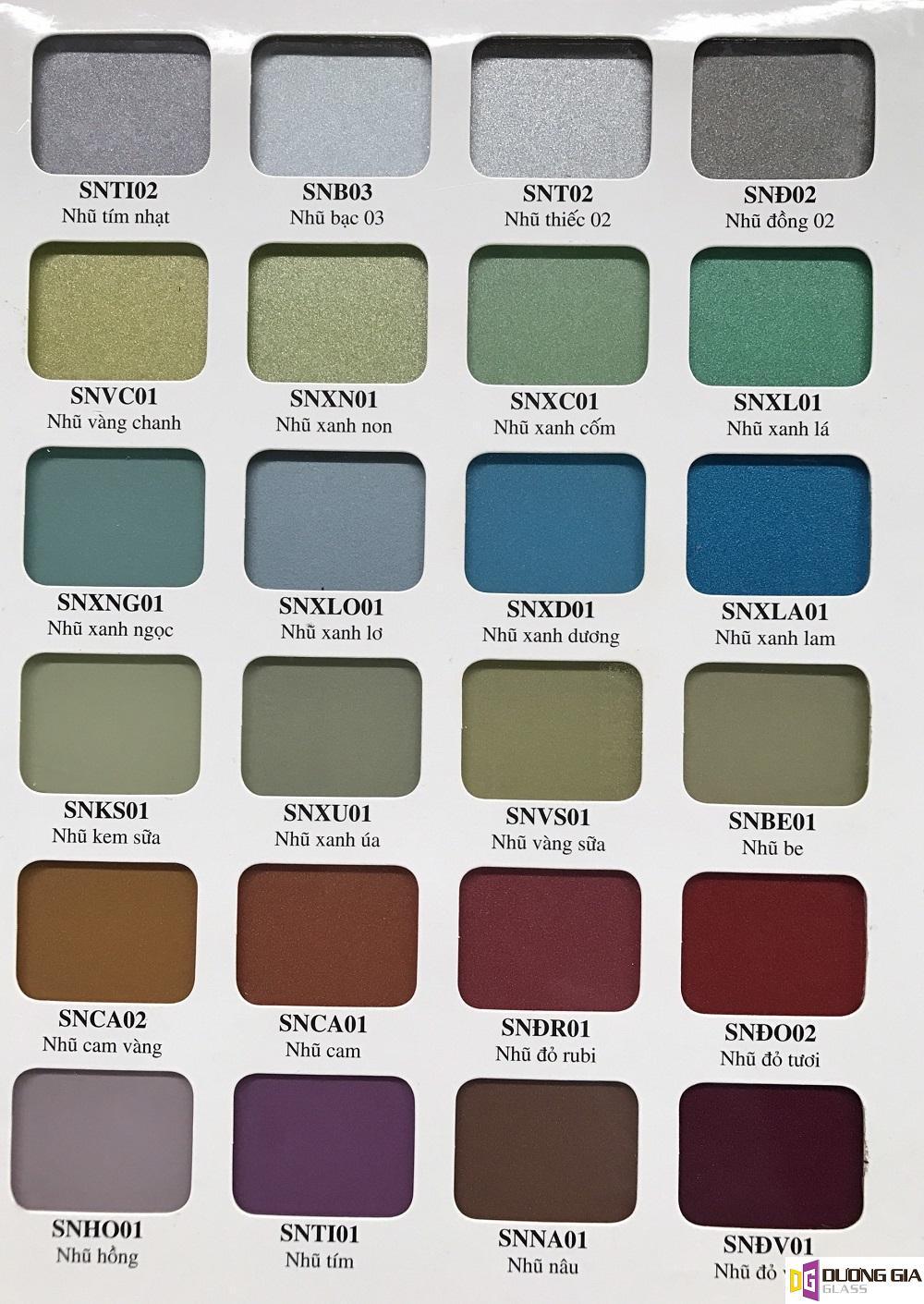 Bảng màu kính ốp bếp đẹp_ chi tiết đa dạng màu sắc