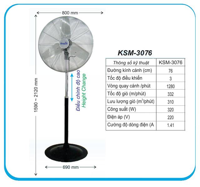 Quạt đứng công nghiệp Dasin KSM 3076 giá tốt