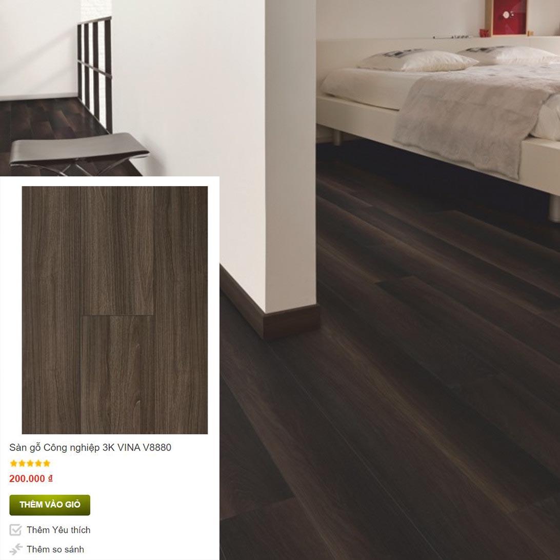 Màu socola cho sàn gỗ 3K VINA V8880