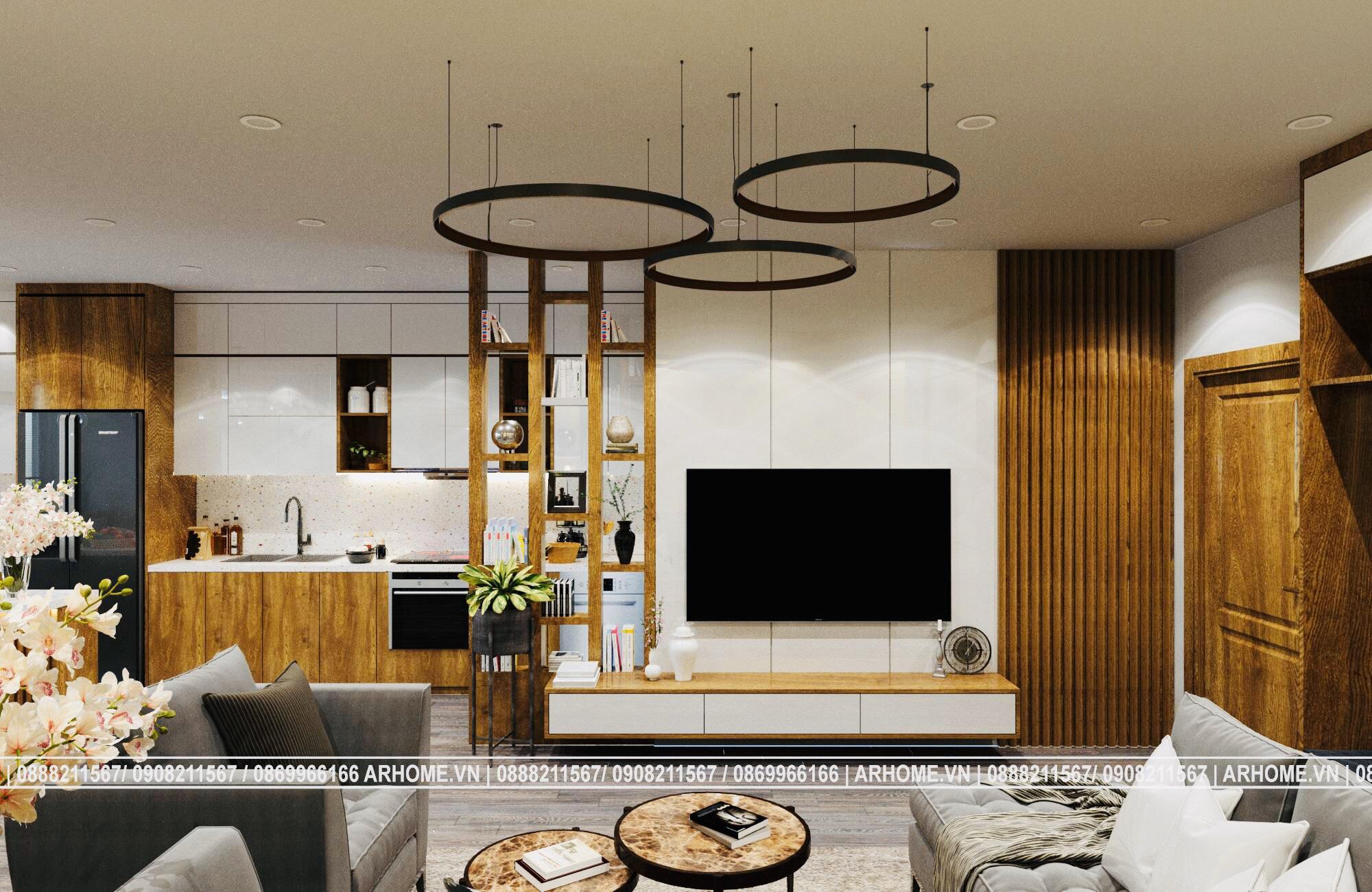 Thiết kế nội thất căn hộ EuroWindow 1 Phòng ngủ màu nâu vàng cuốn hút