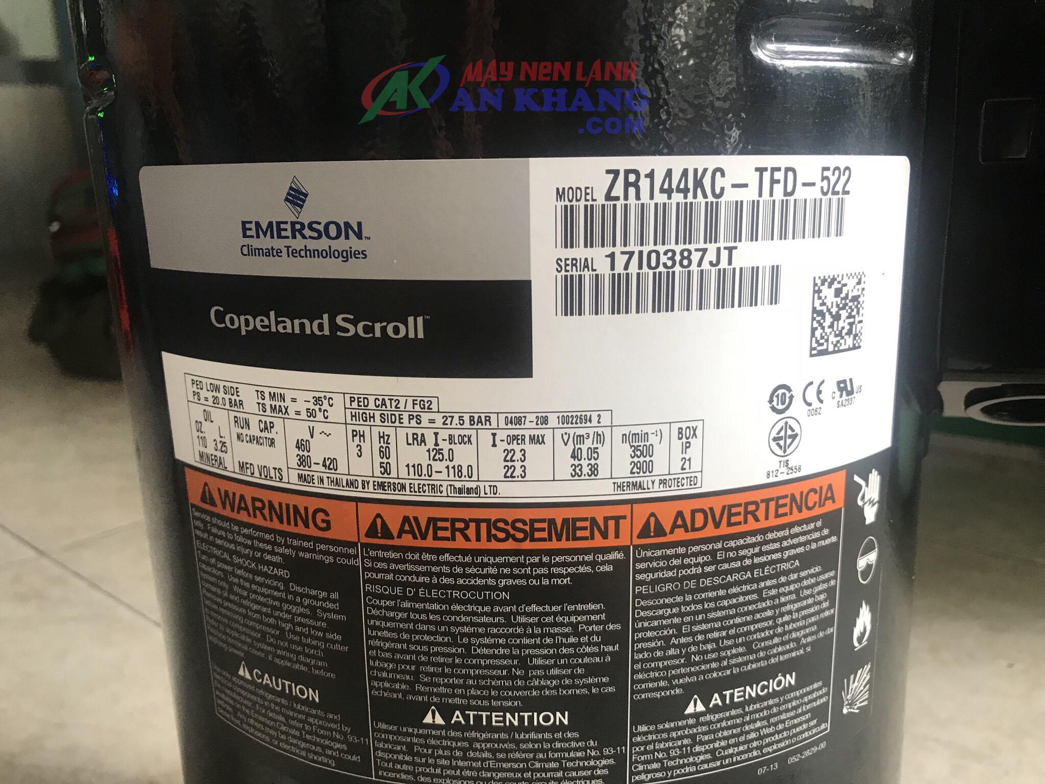 Chuyên cung cấp máy nén Copeland 12hp ZR144KC-TFD-522 giá ưu đãi, giao hàng nhanh tại TPHCM