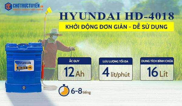 Bình xịt điện HYUNDAI HD-4018 (16L), lưu lượng 4 lít/phút, ắc quy 12AH, bộ bơm HD-4080