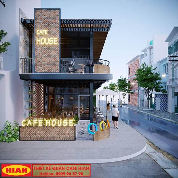 Thiết Kế Quán Cafe Khung Thép 2 Tầng Hiện Đại