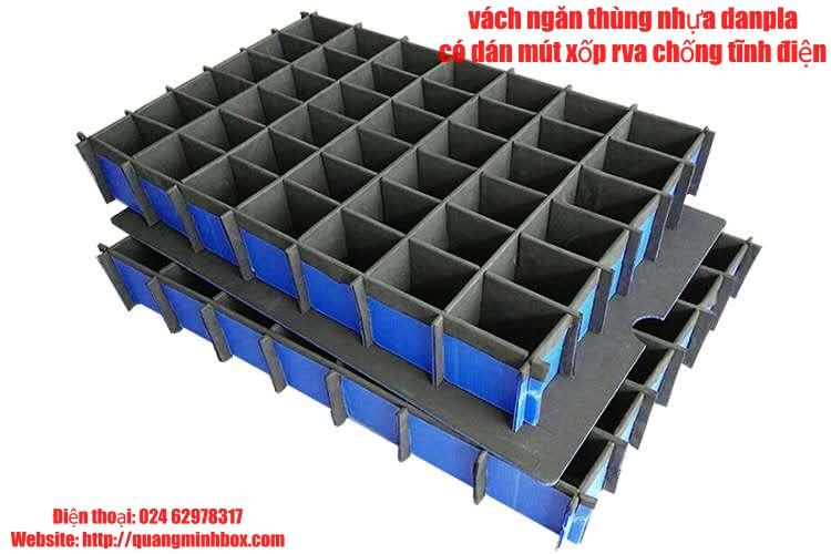 vách ngăn thùng nhựa danpla có dán eva chống tĩnh điện
