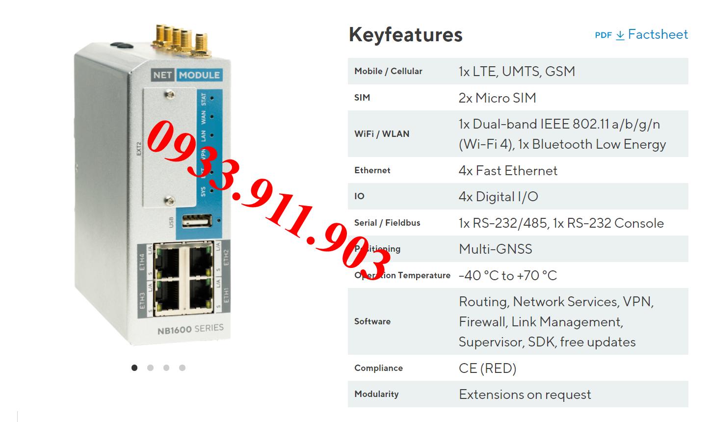 Module NB1601-LWWtSc-G, Đại lý Net Module Viet Nam