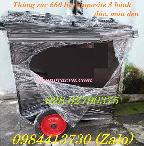 Thùng rác 660 lít composite 3 bánh đặc màu đen Hotline (028) 6279.0375  -  098 441 3730 (zalo)