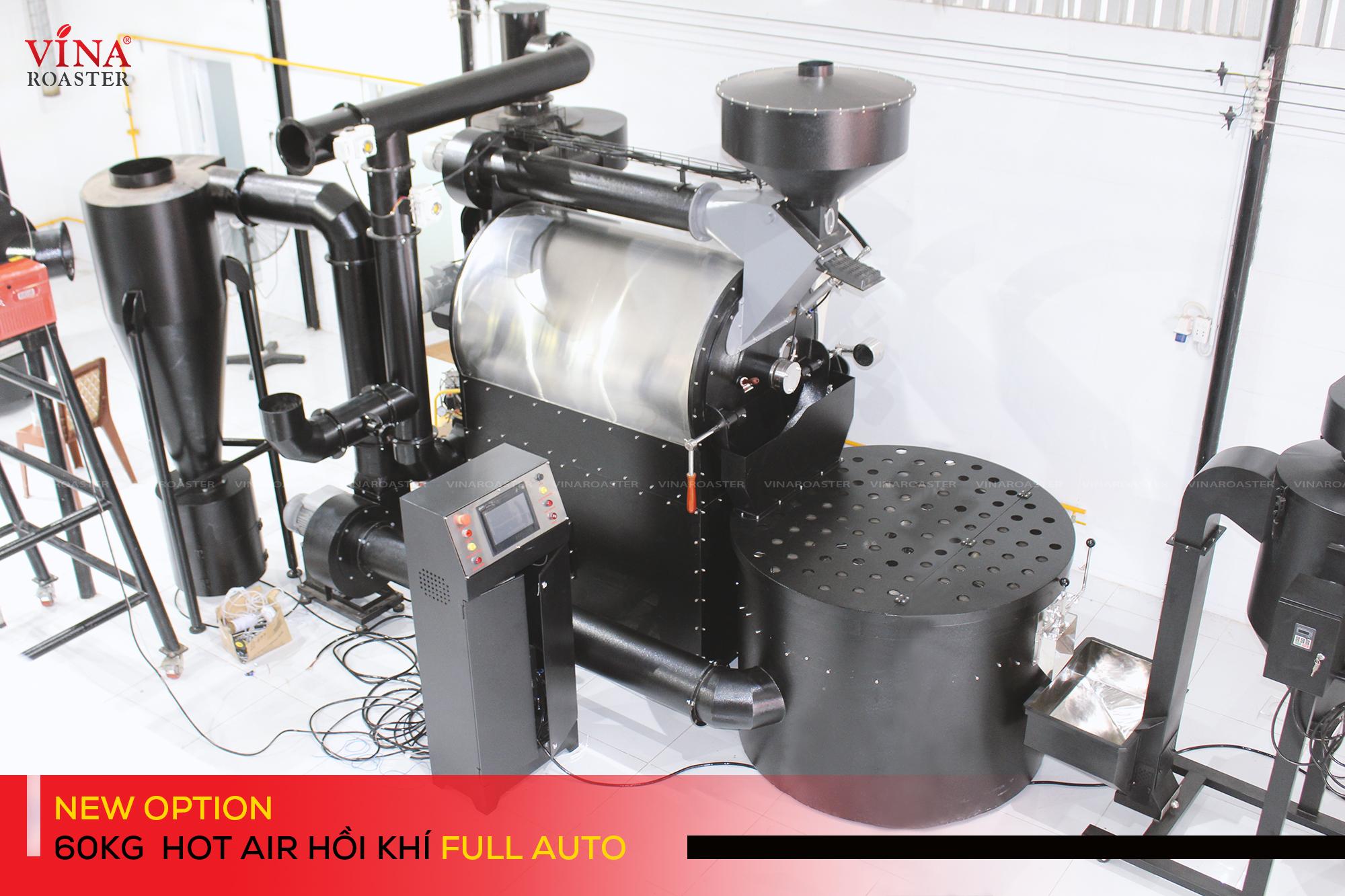 Máy rang cafe automatic công suất 60kg hot air hồi khí Vina Roaster