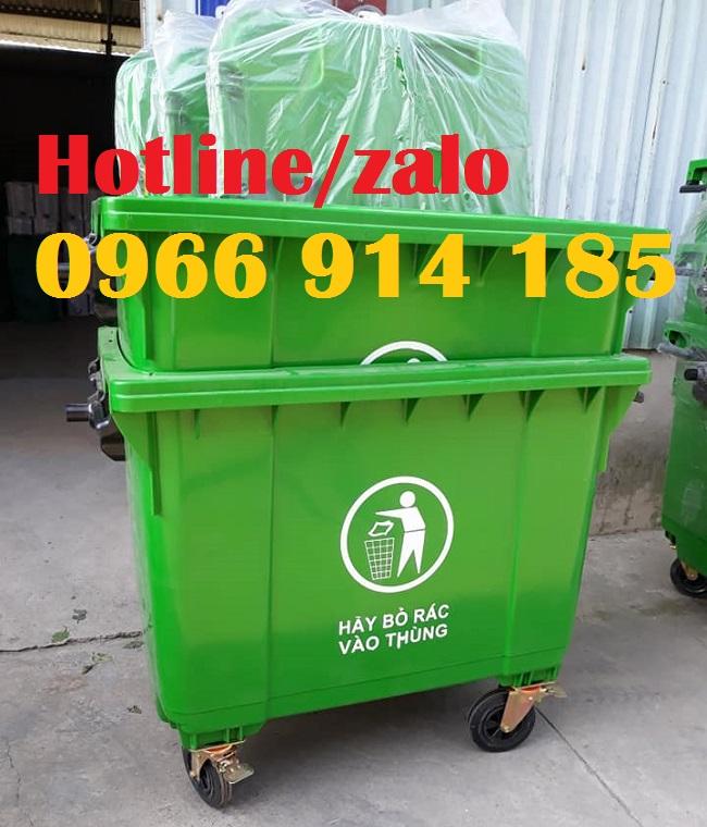 Thùng rác 660 lít, xe đẩy rác 660 lít nắp kín giá rẻ tại kho