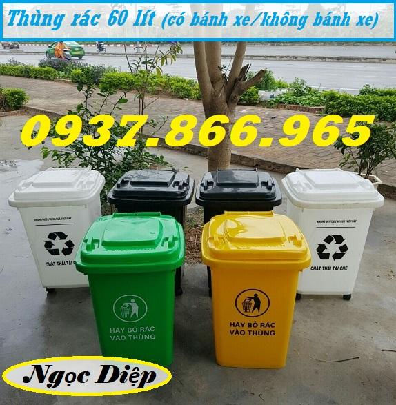 Thùng rác HDPE 60 lít, thùng rác 60 lít nắp kín, thùng rác 4 bánh xe 60 lít
