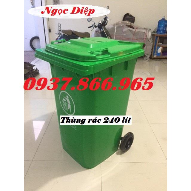 Thùng rác nhựa 240 lít, thùng rác ngoài trời, thùng phân loại rác thải 240 lít, thùng rác công cộng
