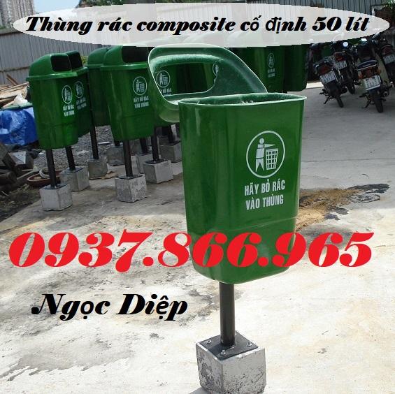 Thùng rác treo đơn, thùng rác cố định, thùng rác composite