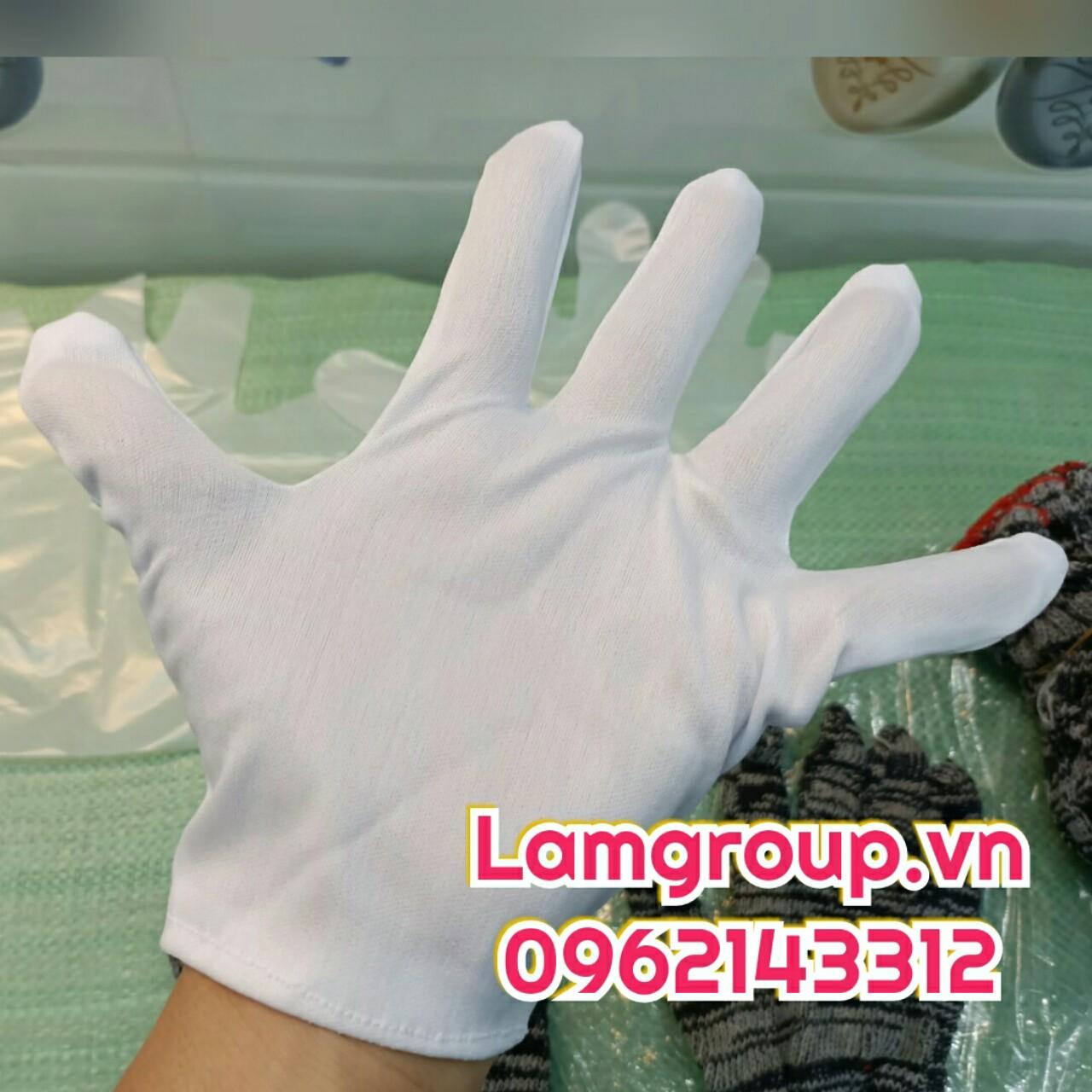 Thế giới găng tay sỉ vải trắng y tế len nilon cao su Lamgroup.vn