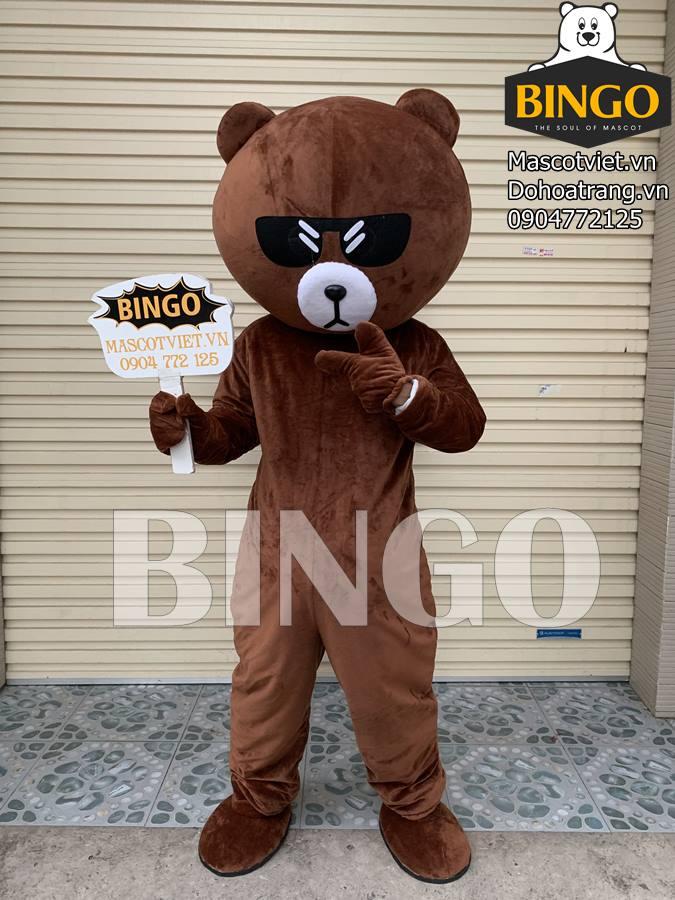 Mascot gấu brown đeo kính siêu ngầu